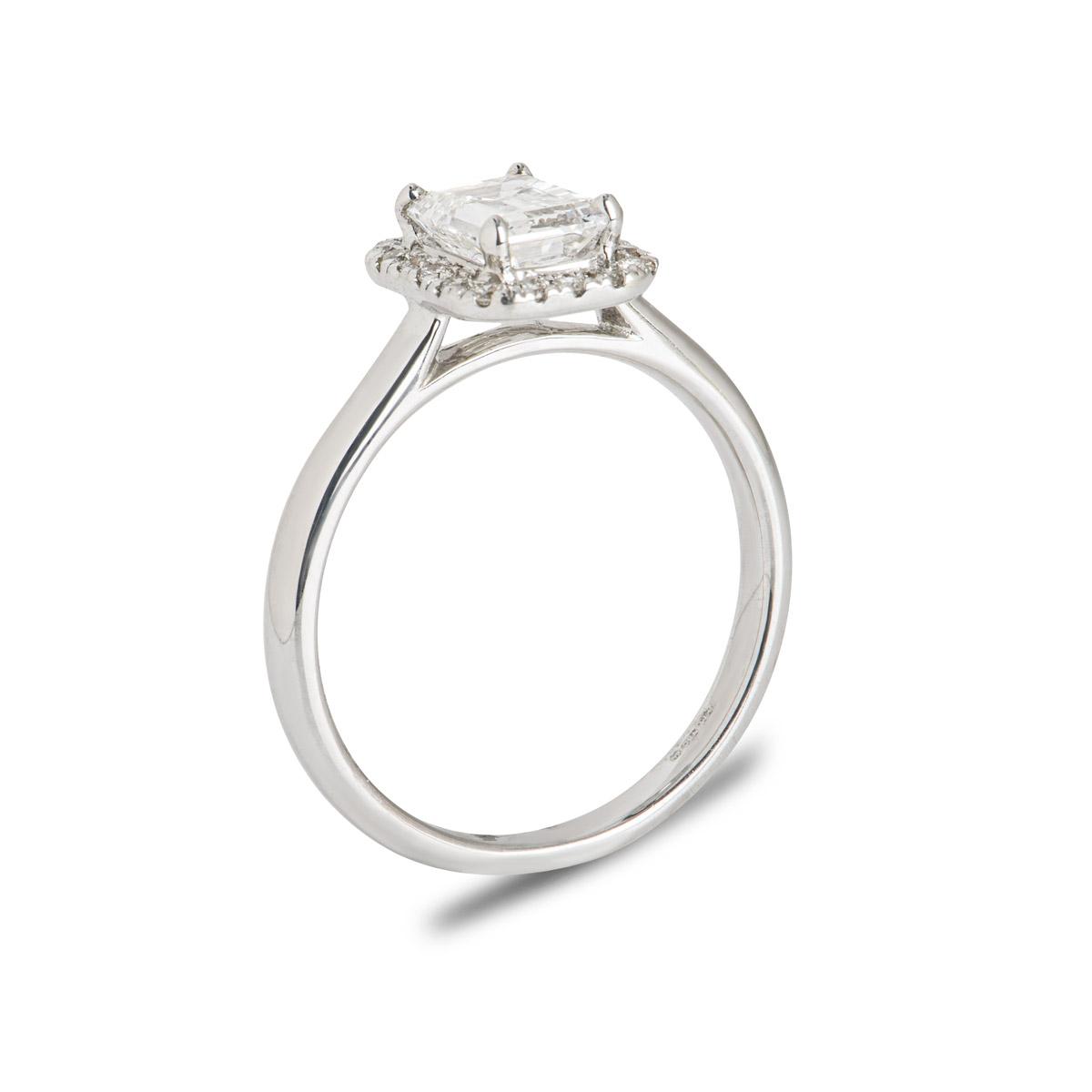 18k White Gold Emerald Cut Diamond Ring 1.07ct F/IF